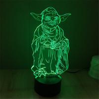 Wholesale 3D Bulbing Light Master Yoda Jedi Leader LED Lighting Home Decor Atmosphere Table Lamp Nightlight for Child