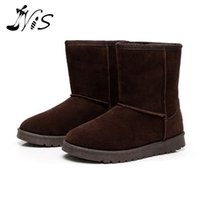 beige wedge booties - Winter Thick Warm Flat Mid calf Boots Women s Soft Plush Cotton Snow Boot Shoe Fashion Slip On Suede Botas Booties