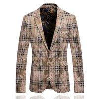 Wholesale Luxury Yellow Jacket Mens flower Blazer Veste Costume Homme Blazer Masculno Chaqueta Traje hombre Gold Blazer