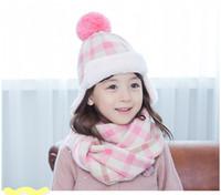 designer hat and scarf - Designer Kids Plaid Hats and Scarf Pieces Set Winter Boys Girls Knitting Scarves Korea Brand Kids Accessories Plus Fleece Hats Set