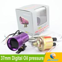 Wholesale 37mm Digital Oil Pressure Gauge With Sensor Red LED Mini Smoke Oil pressure Gauge Universal indicator For Car Meter Auto Gauge