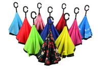 Wholesale Creative Inverted Umbrella Sun Rain Long Handled Umbrella Reverse Windproof Umbrellas Shaped C Handle Enlarge Reinforcement Paraguas