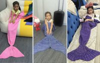 Wholesale Handmade Kids baby Mermaid Blanket Knitted Crochet Soft Warm Swaddle Kids Fish Tail Sofa Blankets Sleeping Bag stock