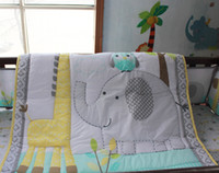 Wholesale 2016 New Arrival cotton Embroidery owl elephant giraffe baby bedding set quilt bumper Skirt Mattress Cover crib bedding set
