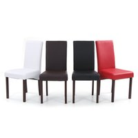 Wholesale IKAYAA Set of Modern Faux Leather Dining Chairs Wood Frame Padded Kitchen Side Parson Chairs Breakfast Stools US STOCK H16758