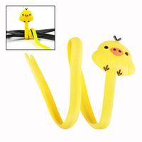 Wholesale Earphone Cable Computer PC Wire Cord Wrap Management Cute Yellow Chick Organizer EQA614