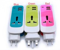 Wholesale NEWEST DESIGN in1 EUROPE USA UK Plug Dual USB A Universal Socket Quick Charging Portable USB Charger adapter