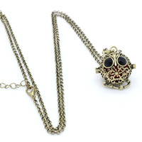antique jewlery boxes - Antique Bronze Owl Floral Hollow Cage Box Locket Fragrance Essential Oil Diffuser Pendant quot Chain Neckalce Womens Charms Jewlery