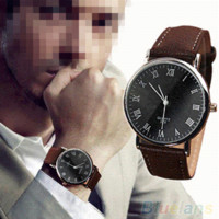 analog tools - New Men s Roman Numerals Faux Leather Band Quartz Analog Business Wrist Watch Q51 OMO Cheap watch band link remover tool