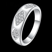 beautiful costume jewelry - Hot Sale Men Fashion Sterling Silver Jewelry crystal Ring R715 Cocktail Costume Beautiful Jewelry Rings