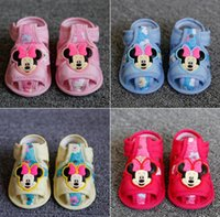 Wholesale 2016 Mickey cartoon bow girl baby cotton barefoot sandals years old newborn toddler slip bottom indoor beach sandals pair E187
