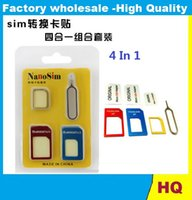 Wholesale in1 Metal Nano SIM Card to Micro Standard SIM Card Adapter Converter Kits with Sim Card Folder Needle For sansung iphone