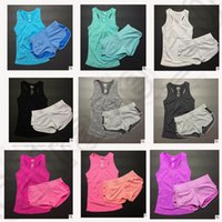 Wholesale 9 color LJJK228 sets Women Stripe Workout Gym Vest Shorts Fitness Running Yoga Set Tracksuit Workout Running Yoga Set