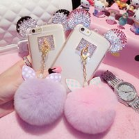 Wholesale New Luxury D Crystal Mickey Ears Bowknot Fur Ball Phone Cases For iPhone S S Plus Soft TPU Phone Bags Back Cover Capa