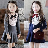 Wholesale Slim Dresses Korea - 2016 slim dresses for girl Long sleeve bow neck Lace flowers crochet collar pleated Sweet birthday gifts clothing preppy style precess Korea