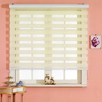 Wholesale Custom Made Polyester Translucent Roller Zebra Blinds in Beige Window Curtains for Living Room Colors are Available