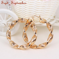 big hoop earrings - Gold Plated Twist Hoop Earrings Small and Big Size for Women Gift New Fashion Jewelry mm mm