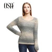 alpaca knitting wool - OSA Winter loose wool alpaca pullovers Autumn women damen sweaters Brief Casual O neck top full Sleeve knitwear SE429007