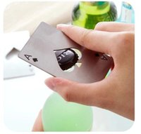 ace materials - Hot sale stainless steel material poker playing card ace of spades bar tool soda beer bottle cap opener