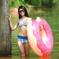 games for beach - 120cm Gigantic Inflatables Donut With Colorful Painted Swimming Water Game Pool Float Summer Water Toys For All Age
