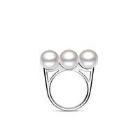 Bague en argent de taille flexible, anneau en argent massif avec imitation de trois perles pour femmes, anneau en argent réglable - RS03803