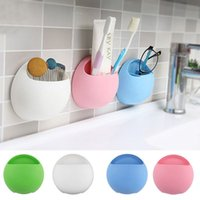 Wholesale Toothbrush Holder Cup Wall Mount Suction Hooks Cups Organizer Bathroom Holder