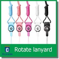 Wholesale The latest mobile phone shell detachable neck lanyard rope hanging phone rope keychain ornaments rotating work card badge color