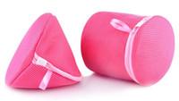 Wholesale 2pcs set round and triangle shape utility underwear aid bra laundry mesh wash basket net washing storage zipper bag