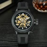 best skeleton watches - Luxury Mechanical Watches Men s Stainless Steel Skeleton Mechanical Watch Gold Dial Mechanical Business Watch Best Gift Drop Shipping