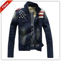 american flag clothing men - 2016 Hot Fashion Jeans Men Denim Jacket Men s Preppy Style Tops Coat American Flag Cow Boy Man Jacket Male Clothes