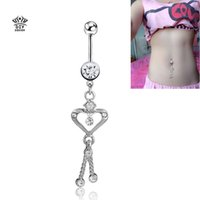 belly chains for pierced navels - 2016 new chain heart belly button rings For Women sexy Navel Ring Piercing ombligo Body jewelry Pircing