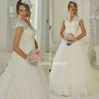 Wholesale Romantic Lace A Line Wedding Dresses V Neck Cap Sleeve Tulle Long Bridal Gown With Applique Handmade Flower New Fashion Custom Made