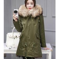 Wholesale Fashion Army Green Black Winter Unisex Army Parka Fox Lining Large Raccoon Fur Hood Trim Coat Jacket Warm