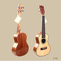 guitar polish - 24 inch Single Board Ukulele Guitar Light Hawaii Spruce Four String Acoustic Guitar with Rose Wood Fingerboard Spruce Polished Veneer Panel
