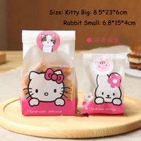 Wholesale Cute Pink Hello Rabbit Cellophane Bags Plastic Cookie Bags Packaging for Snack Candy Food