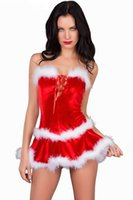 adult christmas party - New Adult Strapless Christmas Costumes Maribou Trim Santa Sleeveless Costume Sexy deguisement Holiday Xmas Party Costumes