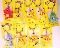 Wholesale Pocket Monster keychain Poke Silicone Pendant Pikachu Poke Ball Keychain Double Sided Design Key Chain for iPhone Kids Gifts