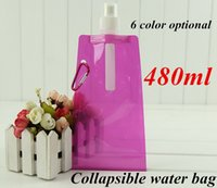 Wholesale water bags color water bottle travel water bag new environmental foldable portable sport for hiking outdoor gadgets gear water bottles