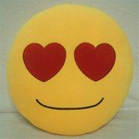 Wholesale 23 Styles Cushion Cute Lovely Emoji Smiley Pillows Cartoon Facial QQ Expression Cushion Pillows Yellow Round Pillow Stuffed Plush Toy