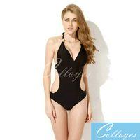 Wholesale 2016 new swimsuit body sexy fashionable European and American siamesed swimsiut black pink white pure color Bikini