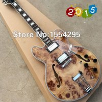 archtop jazz guitar - Custom Jazz Electric Guitar Semi Hollow Body Archtop Guitar Natural color Spalted Maple Top Real photo showing
