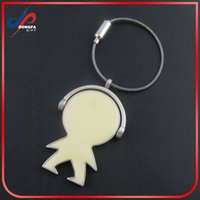 advanced shapes - New Advanced Cute Creative Mini robot shape metal keychain key holder with steel wire rope accessories