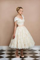 autumn and winter trends - Customization Sexy V Neck Embroidery Lace Appliques Tea Length Cheap White And Champagne Wedding Gowns Short Fashion Trend Free Size