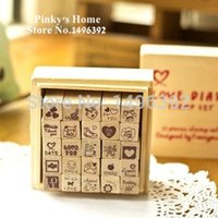 Wholesale DIY Lovely Diary Craft Stamp Decorative Scrapbooking Wood Stationary Set
