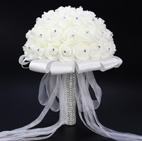 Wholesale Charming White Ivory Bridal Bridesmaid Flower wedding bouquet artificial flower rose bouquet Crystal bridal bouquets DN