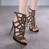 american dance shoes - Fashion woman shoes rivets hollow rhinestone Stiletto heel high heeled sandals banquet dancing shoes yards European and American new