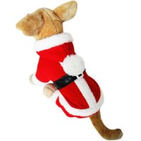Wholesale Dog Costume Christmas Cute Dog Clothes Santa Claus Hooded Pet Jacket Winter Warm Dog Apparel Cotton Pet Clothes for Teddy Poodle Dog D
