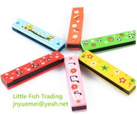 Wholesale kids toys children mood cartoon pattern harmonica above years old wooden mouth organ holes randam shipment