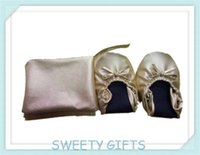 ballerina wedding slippers - Promotional Gifts Ballerina Shoes In Zipper Pouch Bag Customer Logo OEM Factory on Wedding Party Golden Color Slippers