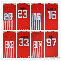 Wholesale New Red Ohio State Buckeyes Jerseys College J T JT Barrett Lebron James Pete Johnson Archie Griffin Joey Bosa Football